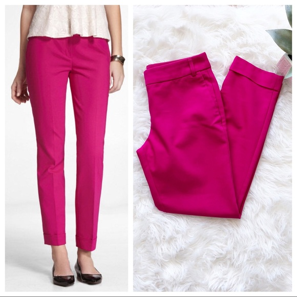 Express Editor Double Weave Ankle Pants Neon Berry